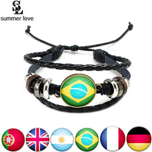 World Cup 2018 National Flags Charm Bracelet Bangles Leather Braided Rope Bracelet Beads Wristband Cuff Women Men Gift Dropship
