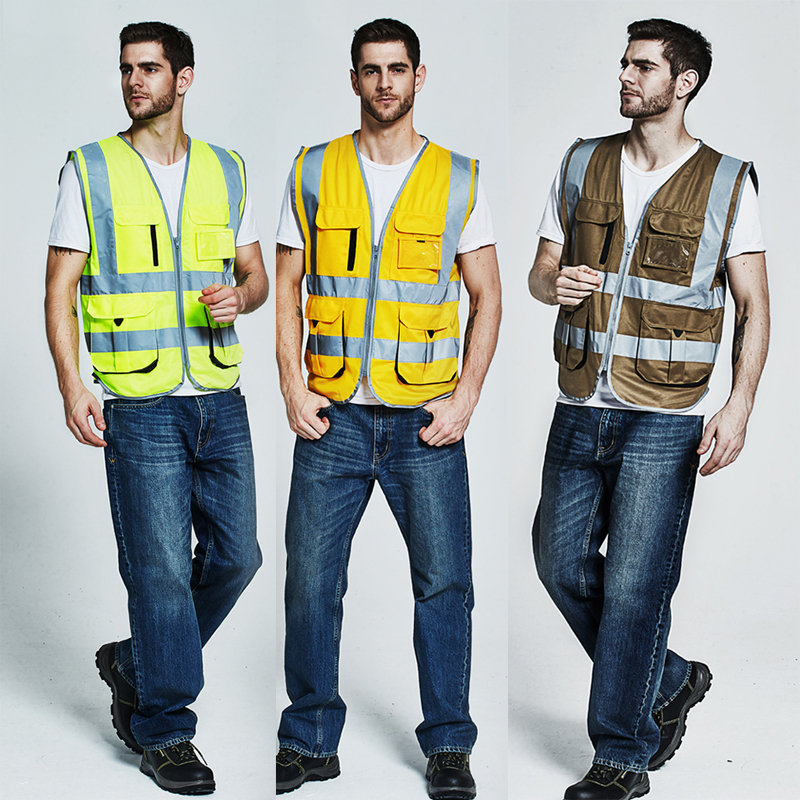 Safety clothes reflective vest with pocket reporter repairman maintenance workers khaki red yellow orange цена и фото