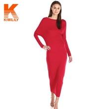 Fashion 2016 Autumn Long Basic Dress Slim Bodycon Women Elegant Batwing Sleeve Bottoming Maxi Bandage Dresses Black Red #A63154