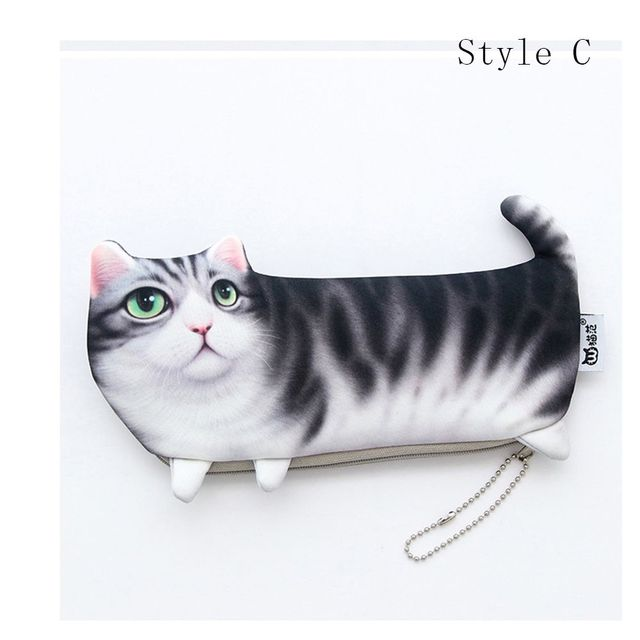 ISKYBOB NEW Kawaii Novelty Simulation Cartoon Cat Pencil Case Soft cloth Bag Gift for Girl Cosmetic Cases Cosmetic Bags
