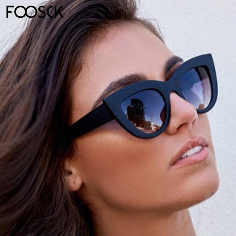 FOOSCK Luxury Cute Sexy Cat Eye Sunglasses Women Brand Designer Sun Glasses Unisex Retro Eyewear For Female