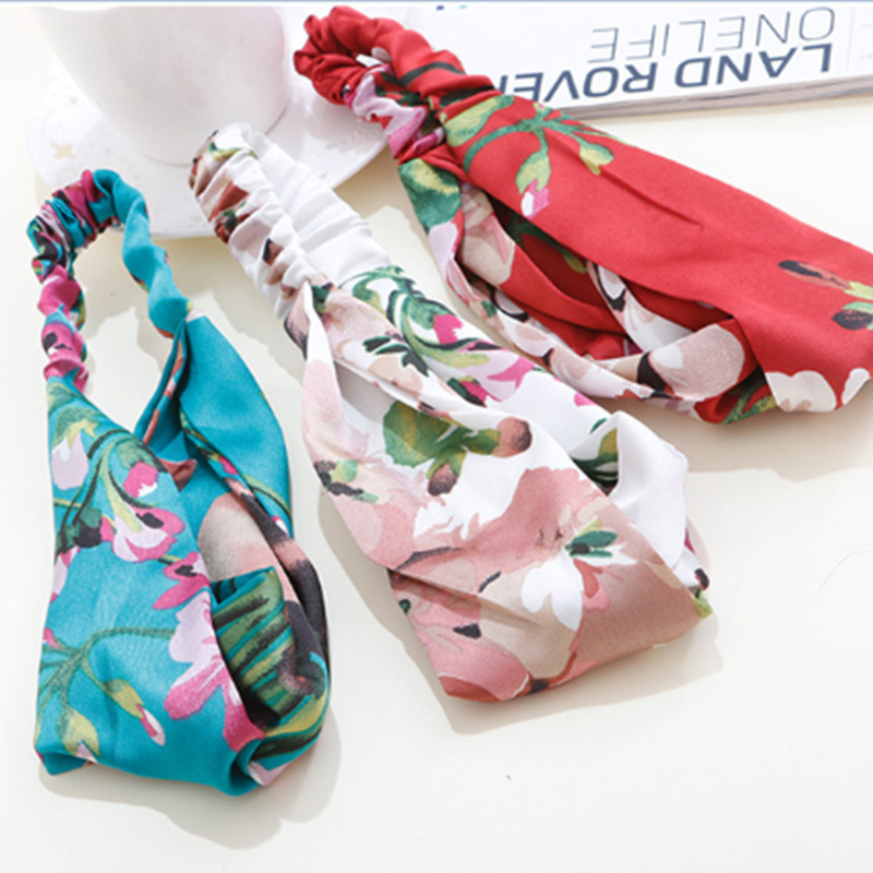 1PC New Fashion Elegance Headband For Women Print Flowers Elastic Hairband Satin Knot Hair Band Girls Hair Accessories Headwear metting joura vintage bohemian ethnic tribal flower print stone handmade elastic headband hair band design hair accessories