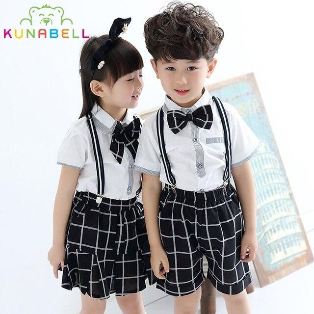 fc33a06c6 Baby Girls Boys School Uniforms Sets With Bow Tie Cotton T-shirt +Half  Strap Pants Tutu Skirt Set Boy Performing Suit L204