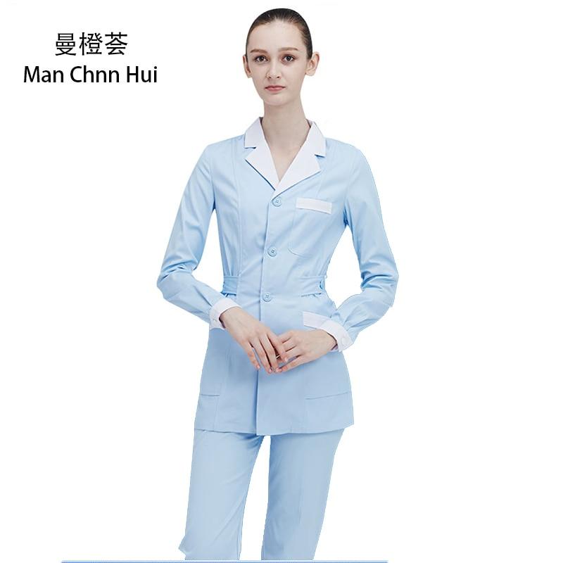 Women Nurse's Suit Medical Clothing Hospital Scrub Suits Doctors Scrubs  Beauty Salon Female Coat+Pants Medical Work Clothes