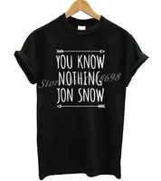 Women Tshirt Harajuku YOU KNOW NOTHING JON SNOW Letters Print Funny Cotton Shirt For Lady Top