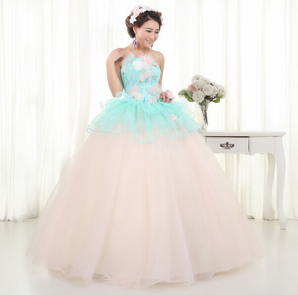 Light pink wedding dress plus size