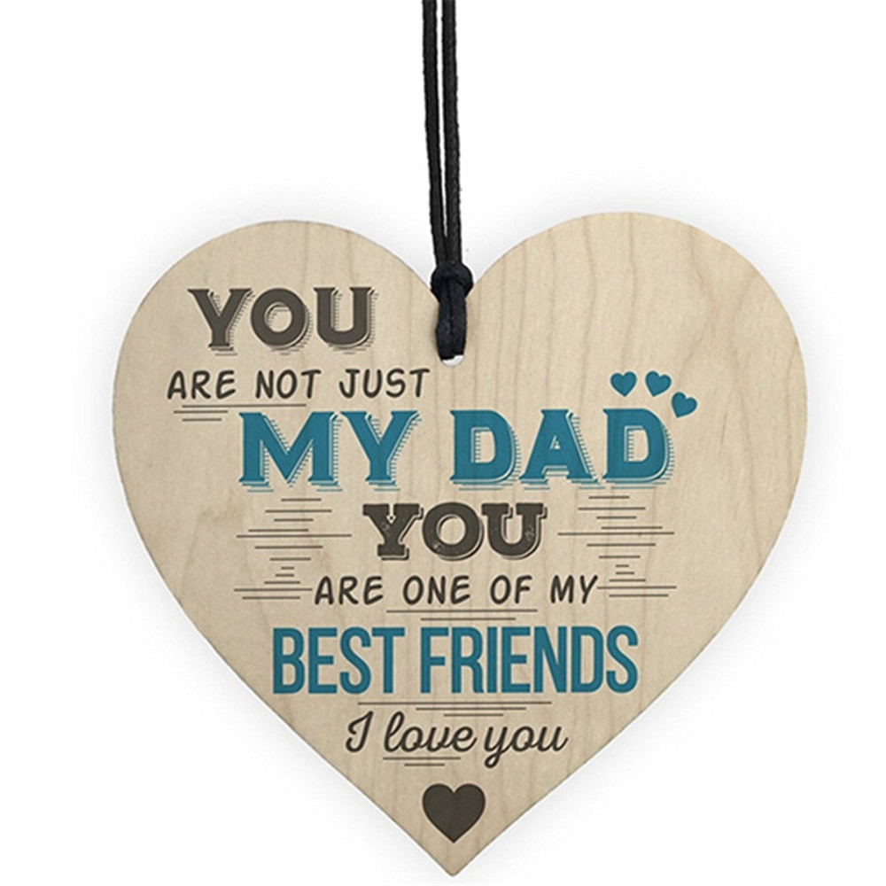 Dad My Best Friend Wooden Heart-shaped Wood Crafts Christmas Home DIY Tree Decorations Wine Label Small Pendant AccessoriesDad My Best Friend Wooden Heart-shaped Wood Crafts Christmas Home DIY Tree Decorations Wine Label Small Pendant Accessories