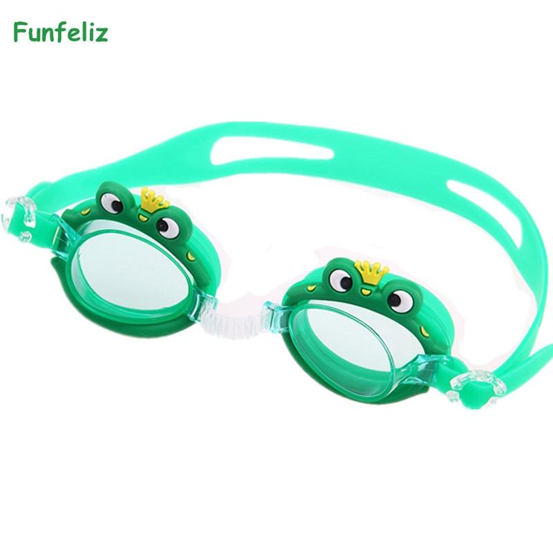 Funfeliz Anti-Fog Kids Swim Glasses UV Protection Character Swimming Goggles for Children Waterproof Pool Swim Eyewear