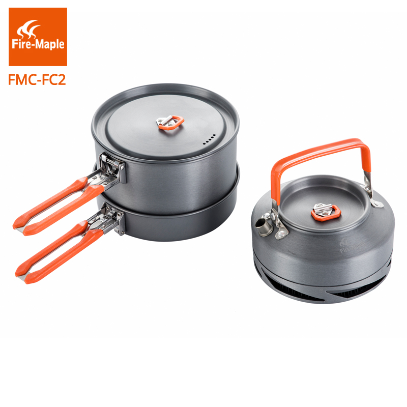 Fire Maple Outdoor Camping Hiking Cookware Backpacking Cooking Picnic 2 Pots 1 Frypan 1 Kettle Set Foldable Handle FMC-FC2