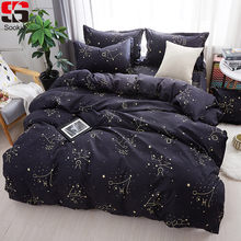 Sookie Zodiac Bedding Set Twin Full Queen King Size 3pcs Bed Linen Constellation Bedclothes Stars Print Duvet Cover Sets(China)