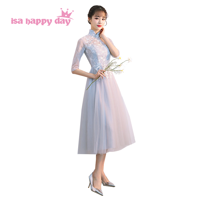 Korean High Neck Grey Lace Short Illusion Neckline Princess Style Tea Length Bridesmaid Dresses Elegant Dress Weddings H4203