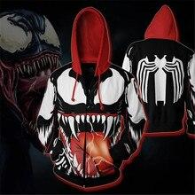 Venom Sweatshirts Hoodie Spiderman Gwen Cosplay Costume 3d Digital Printing Black White Coat Zipper Top Jackets