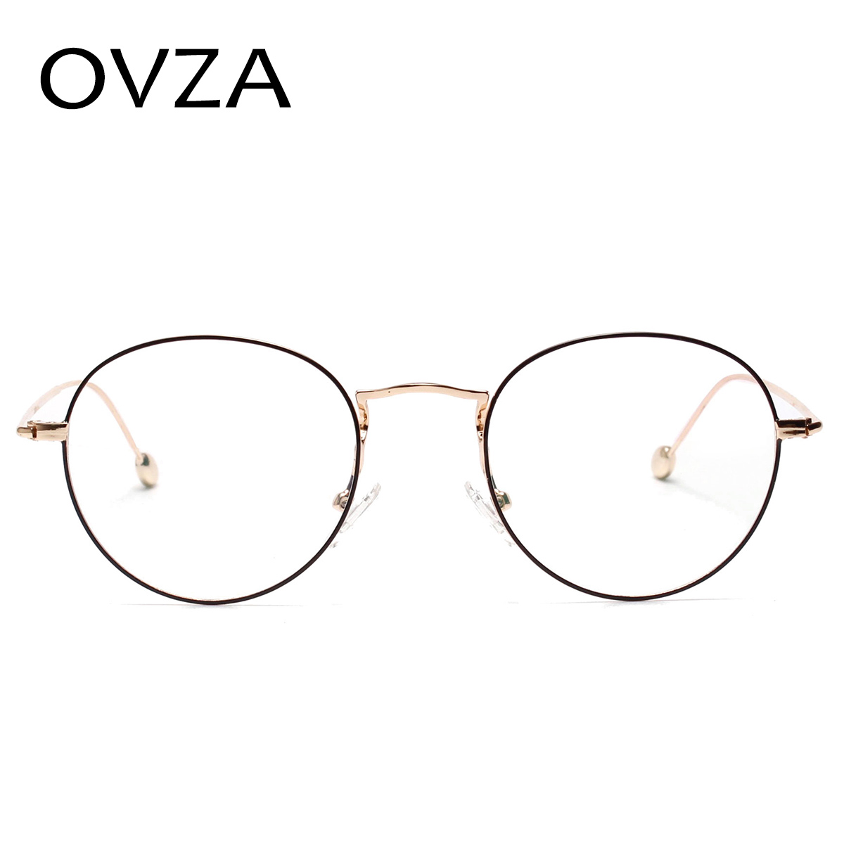 1278c7335b9 OVZA Vintage Oval Glasses Frames Women Fashion Metal Optical Frame Mens  Retro Eyeglasses Ultralight Transparent L S1093-in Eyewear Frames from  Men s ...