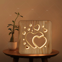 3D wooden night lamp love heart hollow design LED white lamp as valentine's day gift or room club decoration