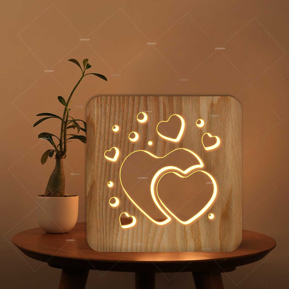 3D деревянная Ночная лампа с сердечком и полым дизайном, светодиодный белый светильник в качестве подарка на День святого Валентина или украшения для комнаты в клубе