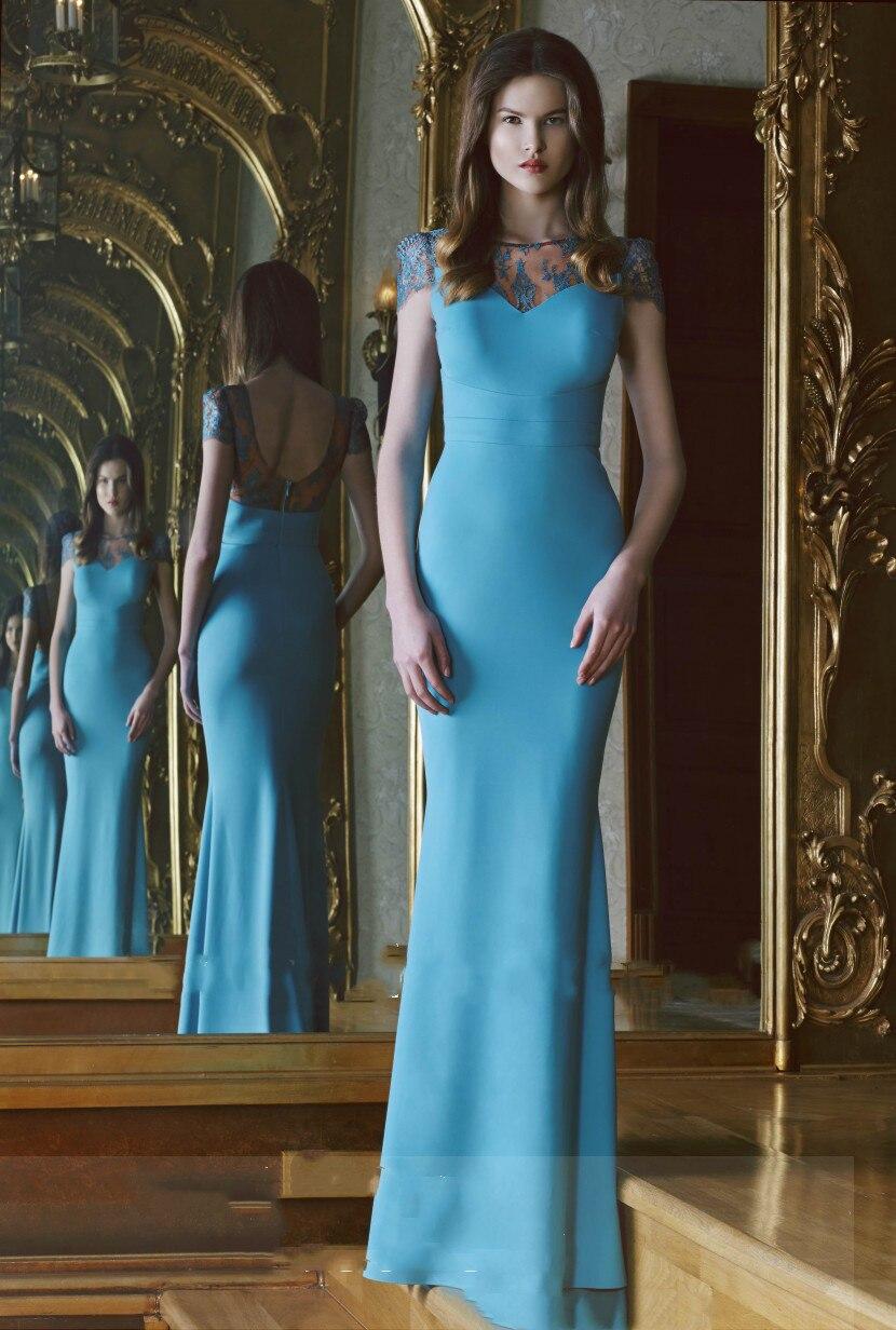 Best Selling Sheer Short Sleeves Evening Dress Mermaid Trumpet Lace 2019 robe de soiree Formal prom party Gowns formal dresses in Evening Dresses from Weddings Events