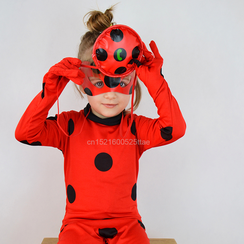 2018 neue Marienkäfer Cosplay Kostüme 3 stücke Marienkäfer Overall Maske Tasche für Kinder und Erwachsene Volle Lycra Anzug Dame Bug kinder Halloween