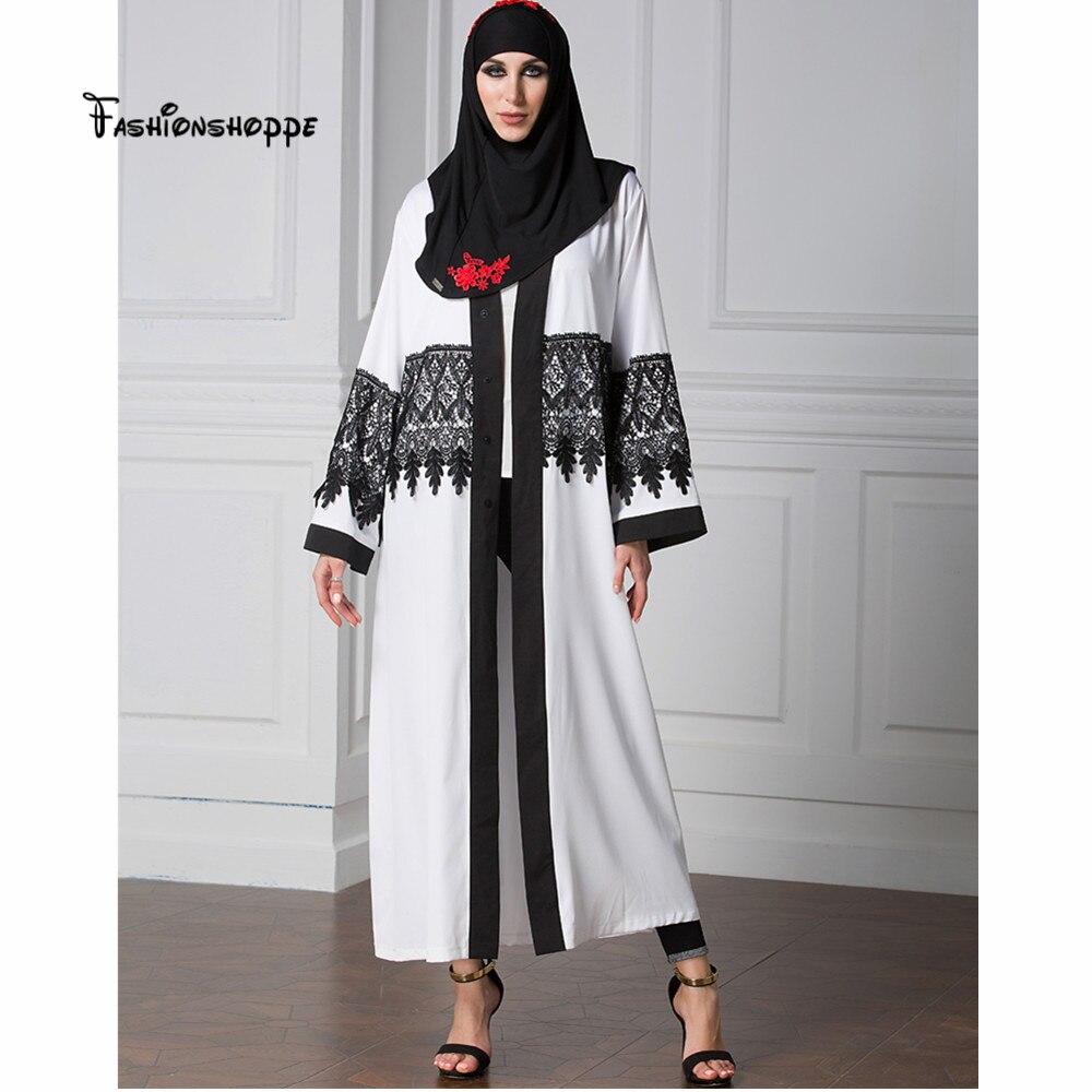 92d17b03ac1 Abaya Cardigan 2017 long sleeve lace patchwork muslim white abaya cardigan  dress