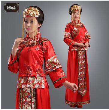 Prabangus kinų senovės nuotakos suknelė nuotakos drabužių vestuvių skrudinta drabužių moterų kostiumas derliaus drabužius