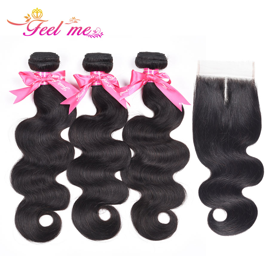 Feel Me Hair Brazilian Body Wave With Closure Middle Part Human Hair 3 Bundles with 4x4 Lace Closure 100% Non-remy