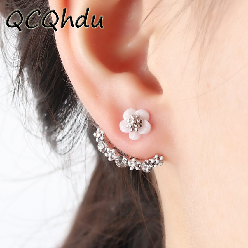 1 Pair Crystals Stud Earrings for Women Rose Gold Color Double Sided Fashion Jewelry Cherry Blossoms Flower Earrings Girls Gift