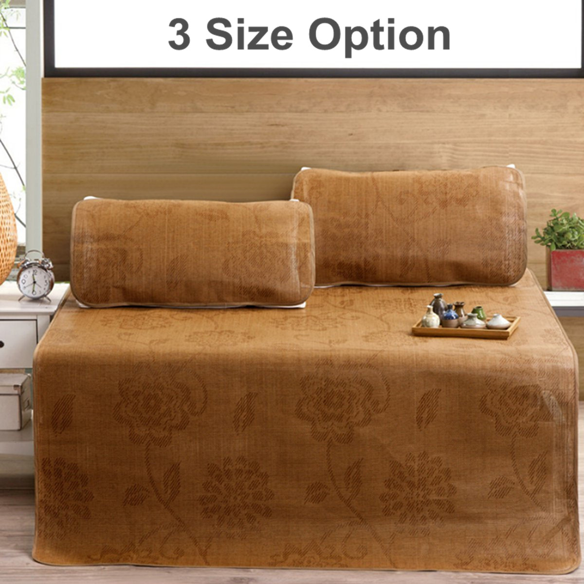 Summer 3PCS/Set Rattan Mat Mattresses Sleeping Cooling Bed Cover Pillowcases Bedding Home Textile 3 Sizes Natural Bamboo