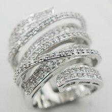 Micropave Crystal Zircon 925 Anillo de Plata Tamaño 6 7 8 9 10 11 A11