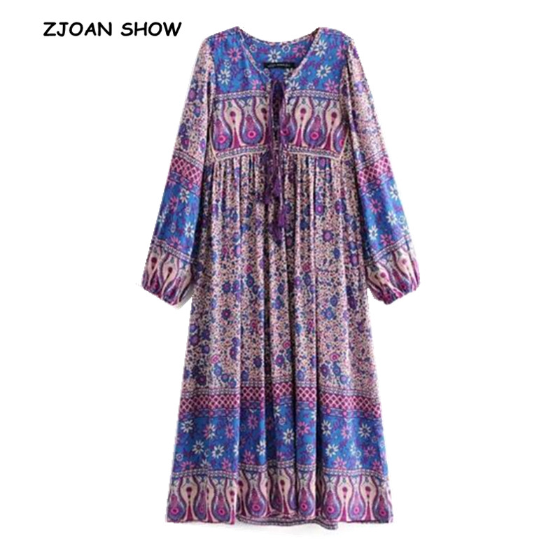 Bohemian Lacing Up V Neck Location Floral Print Dress 2018 New Ethnic Woman Stream Tassel Long Sleeve Mid Long Strappy Dresses