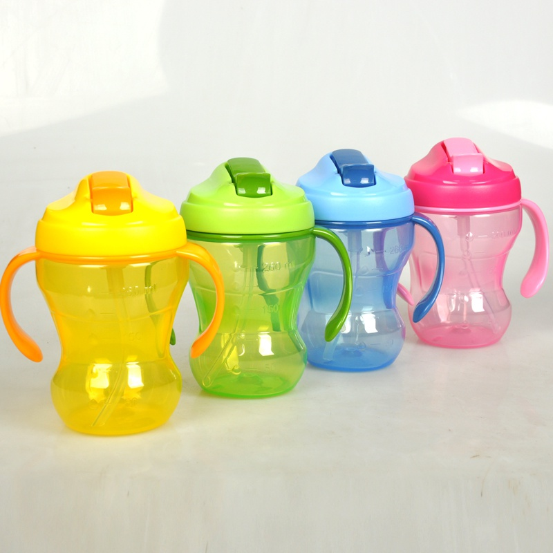 260 ML New Leak-proof Infant Learning Cup Baby Bottle Straw Cup PP Material BPA Free Children's Kettle Water Feeding Bottle L
