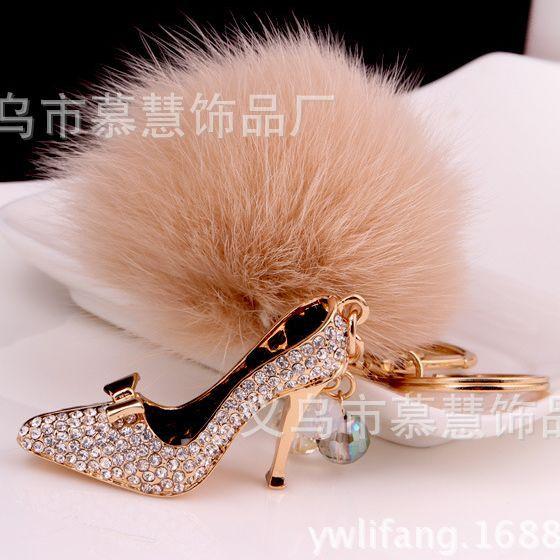 High-heeled-Shoes Metal Key Chain Grey 8CM Fox Hair Bulb Fur Plush Pom Poms Ball Bag For Car Ornaments Pendant Key Ring For BMW