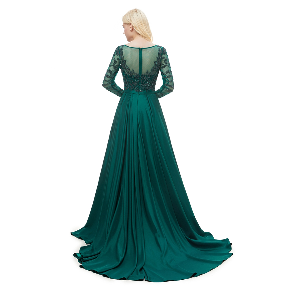 Luxury Green Evening Dresses Mermaid Train Muslim Long Sleeve Ladies Special Occasion Beading Long 2019 Prom Formal Gowns Women