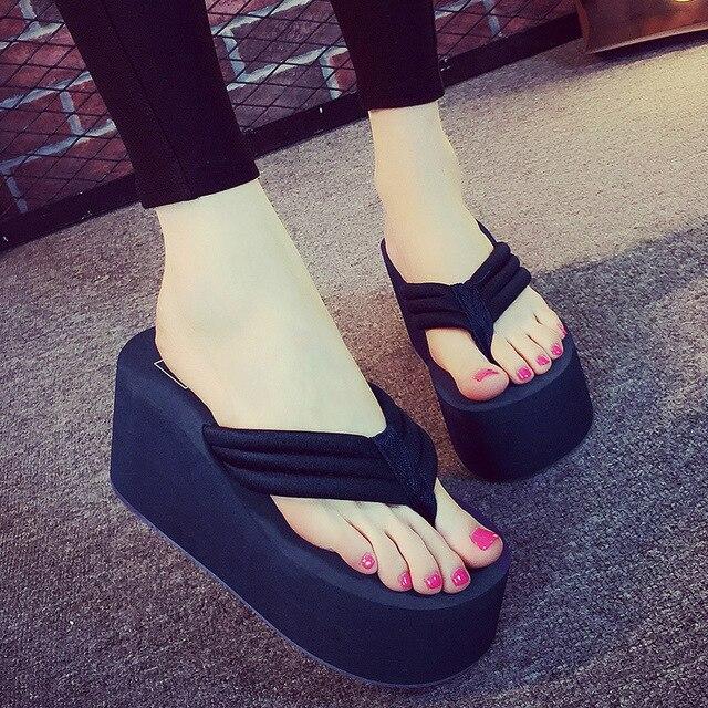 dde1d0b368f5 2018 New Women Sandals Platform Shoes Woman summer slippers Bohemia wedges  flip flops beach wedges Ultra High Heels slippers