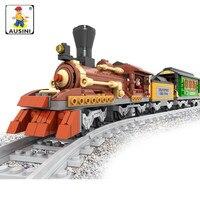 Ausini 483pcs Train building blocks Train Bricks Blocks children's educational toys brinquedos train
