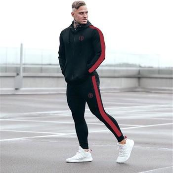 TEMENGSI Men Sports Suit Cotton Running Sets