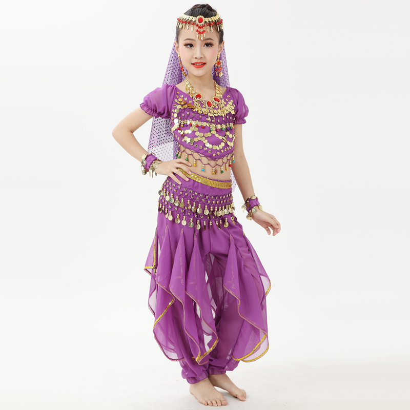 Good Quality Belly Dance Costumes For Girl Purple Rose Red Blue Tops+Pant Set Sexy Children Feminine Clothes Indian Suit Q4004