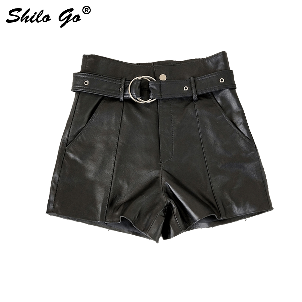 Leather Shorts Womens Summer Fashion Sheepskin Genuine Leather Shorts Button Zipper Round Metal Belt Wide Leg Shorts