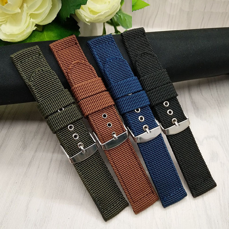 HENGRC Watch Band Outdoor Sports Nylon Nato Strap 18mm 20mm 22mm 24mm Handmade Canvas Watchband Steel Metal Needle Buckle durable canvas fabric strap steel buckle wrist watch band 20mm 22mm pin buckle durable replacement watchband nato strap colorful