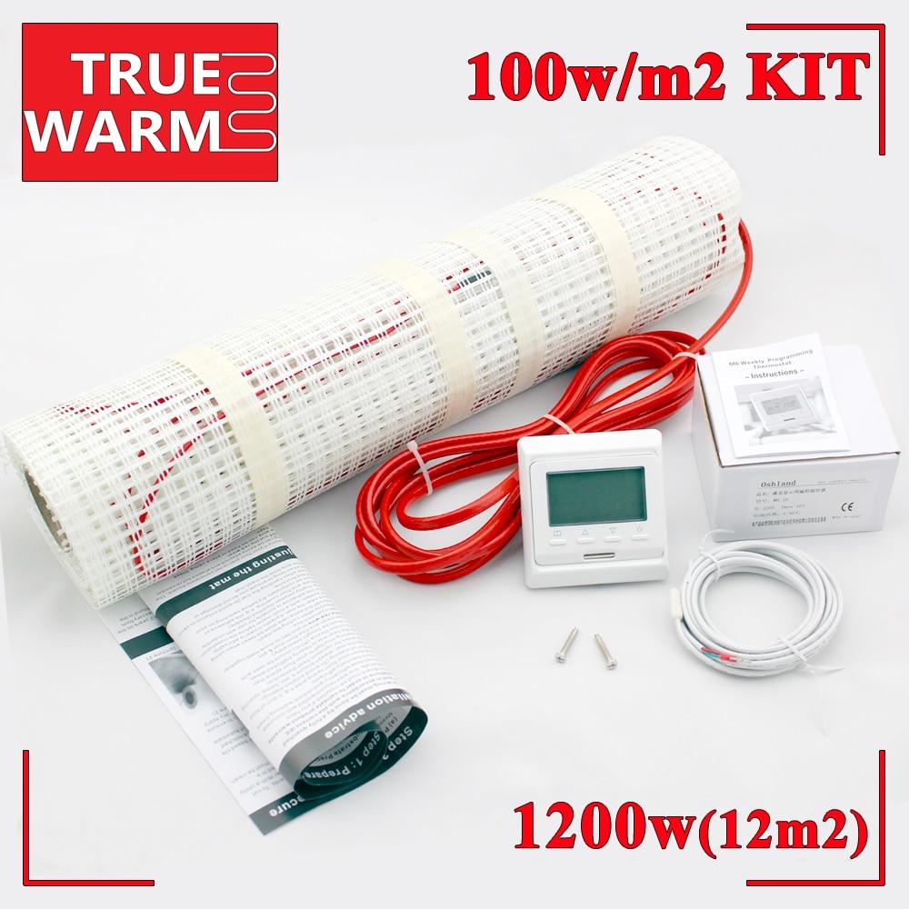 High Quality 12.0m2 Underfloor Heating Mat Kit For Warm Floor, 220V 1200W, Wholesale T100-12.0High Quality 12.0m2 Underfloor Heating Mat Kit For Warm Floor, 220V 1200W, Wholesale T100-12.0