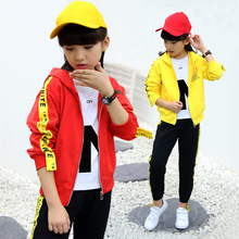 Girls autumn sports suit 2018 new Korean fashion children's clothing letters hooded zipper cardigan jacket + pants two