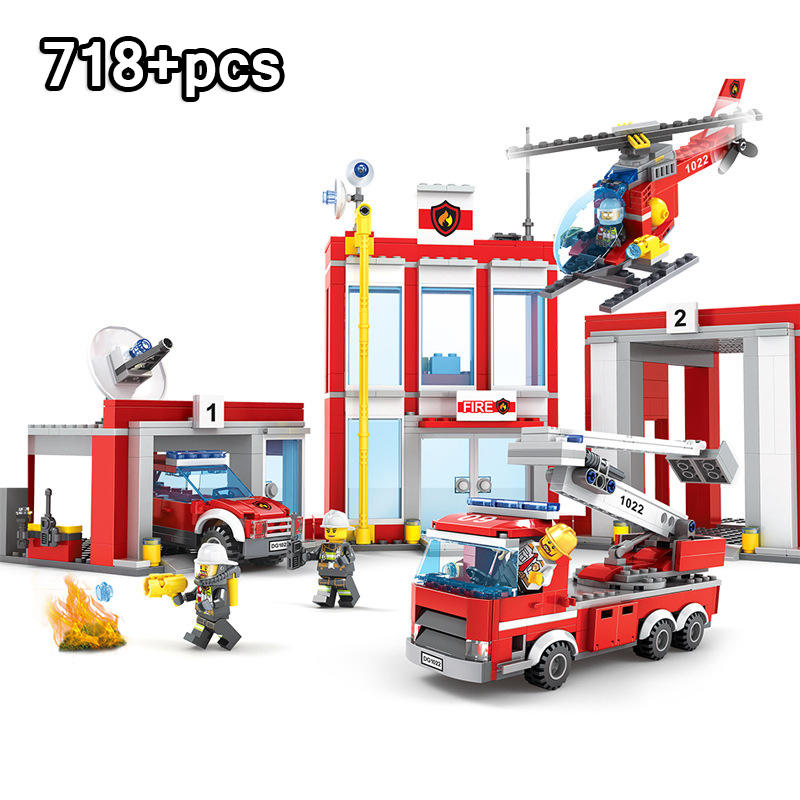 718pcs Fire Station Technic Truck Helicopter Building Blocks Compatible LegoINGs City Firefighter Bricks Toys For Children Gift 718pcs Fire Station Technic Truck Helicopter Building Blocks Compatible LegoINGs City Firefighter Bricks Toys For Children Gift