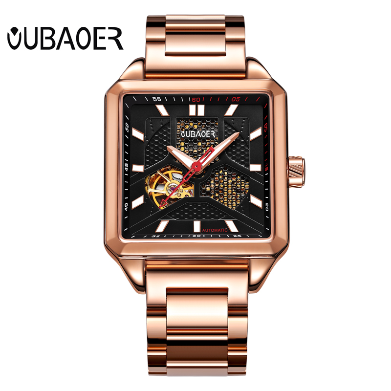 Oubaoer Automatic Mechanical Watch Men Luxury Brand Black Skeleton Watch Business Watches Male Rectangle Stainless Steel Watch ultra luxury 2 3 5 modes german motor watch winder white color wooden black pu leater inside automatic watch winder