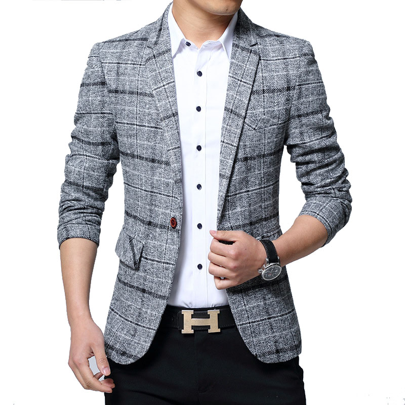 New Men Blazers 4XL 5XL Spring British Style Plaid Male Slim Fat Business Casual Blazer Coat Men Brand Outwear Jacket BF603(China)