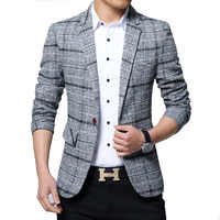 New Men Blazers 4XL 5XL Spring British Style Plaid Male Slim Fat Business Casual Blazer Coat Men Brand Outwear Jacket BY603