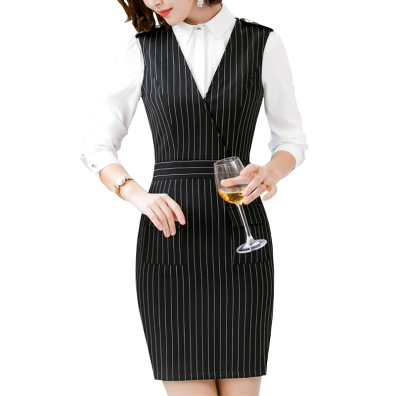 2019 Ladies Elegant Long Sleeve Blazer Strip Dress Pencil Women Formal Dresses Shirt Suit Set for Work Tunic Office Lady formal wear