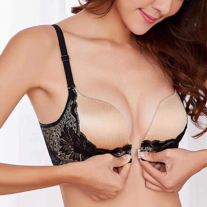 Sexy Mousse Deep V Hot WireFree Bras Lingerie Front Closure Cup Breathable  Lace Design Underwear For 7c0ff270d