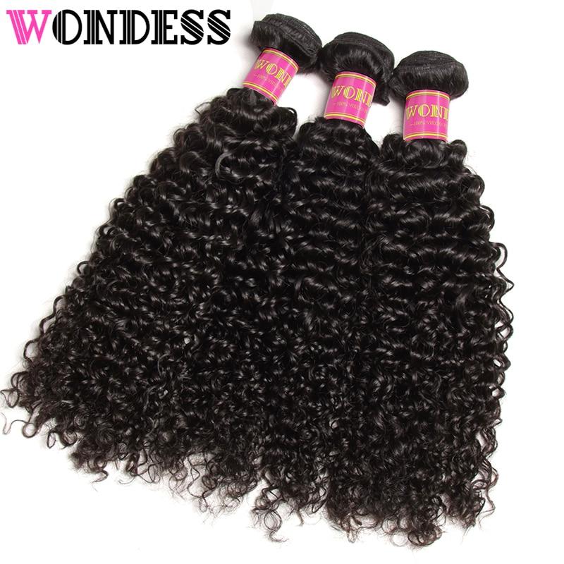 Wondess Hair Curly Weave 3 Bundles Unprocessed Indian Virgin Hair 8-26inch Human Hair Bundles Natural Color Hair Extensions