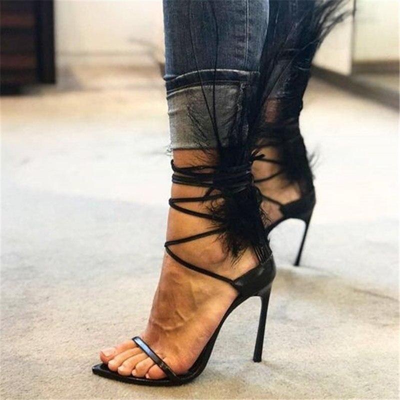 Pointu Femmes Sandales Ouvert A Bres Dames Noir Gladiateur Dentelle Talons Mince 2018 Stylet Up Dos Plumes Bout Haute Nouvelles xRXYIq