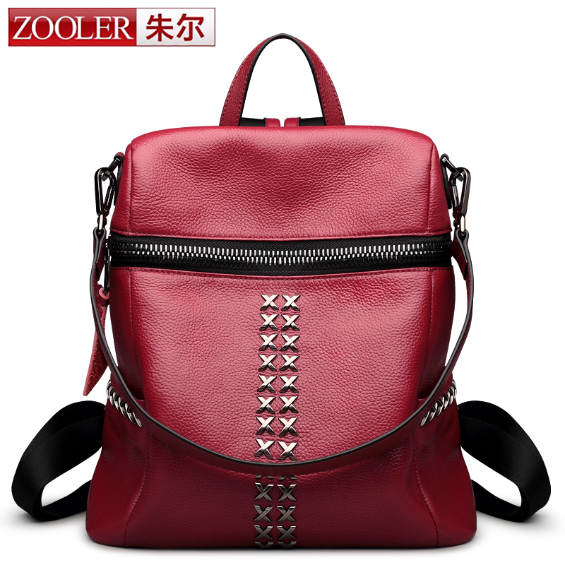 ZOOLER Simple Style Backpack Women Genuine Leather Backpacks For Teenage Girls School Bags Fashion Vintage Solid Shoulder Bag