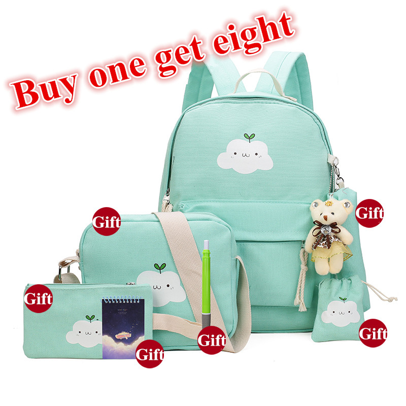 Buy One Get Eight 2017 School Bags For Teenage Girls Canvas Shoulder Book Bag Cartoon Printing Students Children Cute Backpack buy monitor for mac
