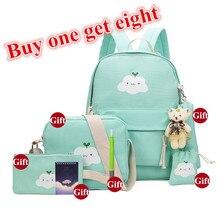 Buy One Get Eight 2017 School Bags For Teenage Girls Canvas Shoulder Book Bag Cartoon Printing Students Children Cute Backpack